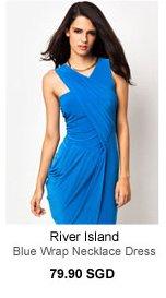 RIVER ISLAND Blue Wrap Necklace Dress