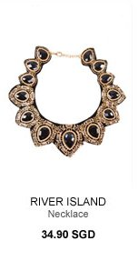 RIVER ISLAND BLACK FABRIC BACKED STATEMENT NECKLACE
