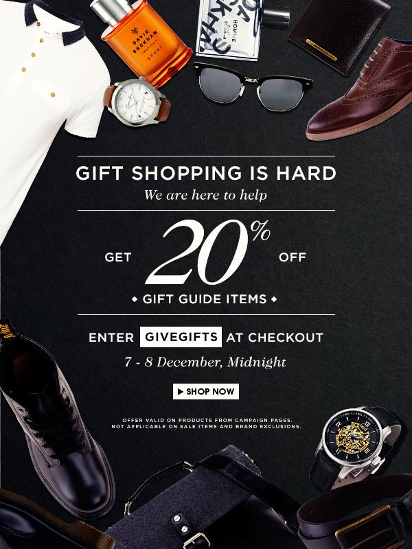Pre‐Christmas Sale: 20% off Gift items