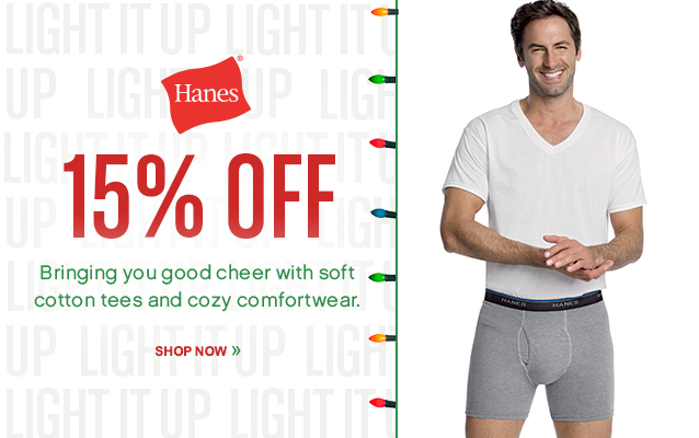 15% Off Hanes! Shop Now