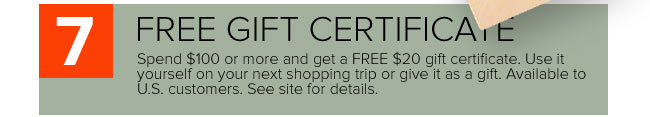 Free Gift Certificates