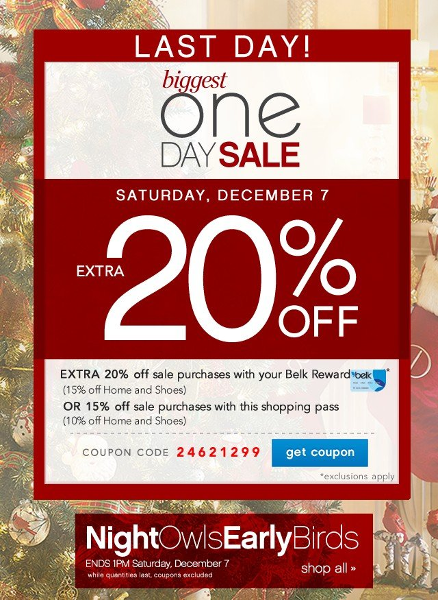Biggest One Day Sale. Extra 20% off. Get coupon