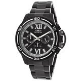 Invicta 15062 Mens Specialty Black Dial Chronograph Black IP Steel Watch