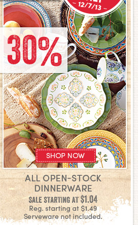 Today's Deal - 1 Day Only (12/7)! Save 30% on All Open-Stock Dinnerware
