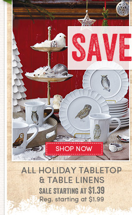 Today's Deal - 1 Day Only (12/7)! Save 30% on All Holiday Tabletop & Table Linens