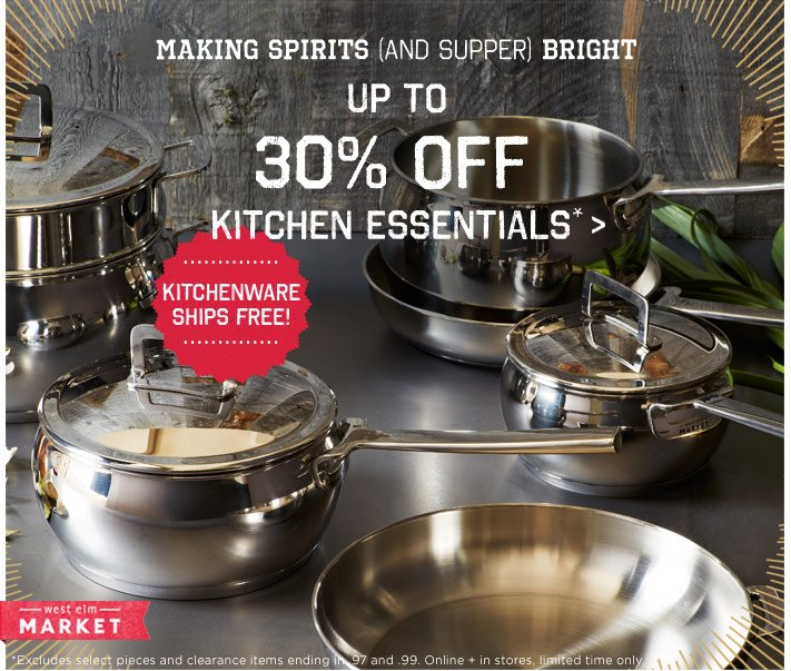 Making spirits (and supper) bright. Up to 30% off kitchen essentials*