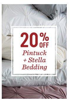 20% off pintuck + stella bedding