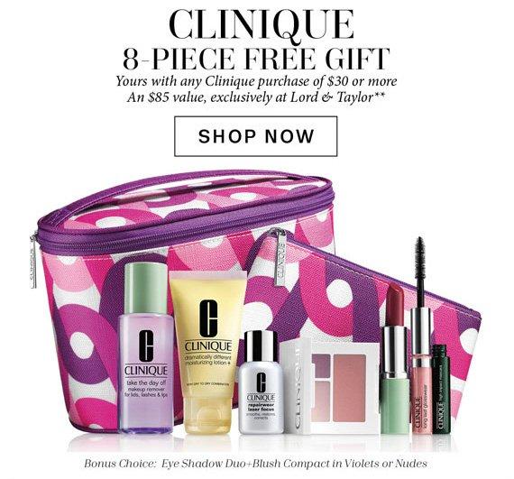 Clinique 8-Piece Free Gift. Shop Now.