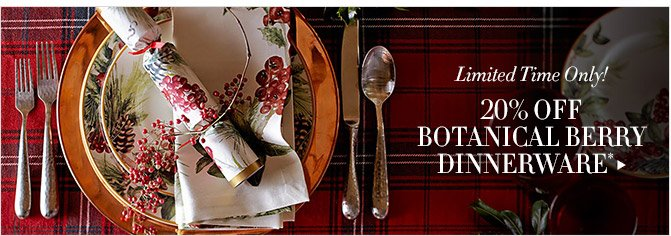 Limited Time Only! -- 20% OFF BOTANICAL BERRY DINNERWARE*