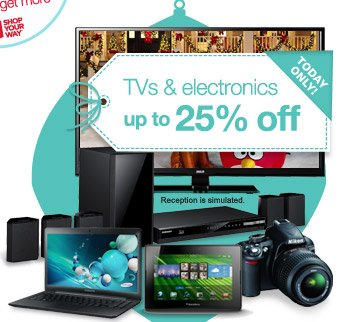 TODAY ONLY! | TVs & electronics up to 25% off