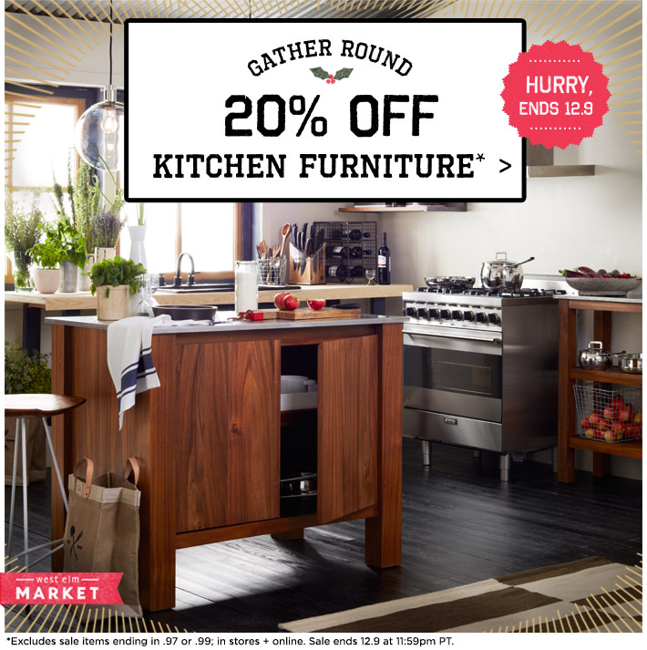 Gather round. 20% off kitchen furnitures* Hurry, ends 12.9