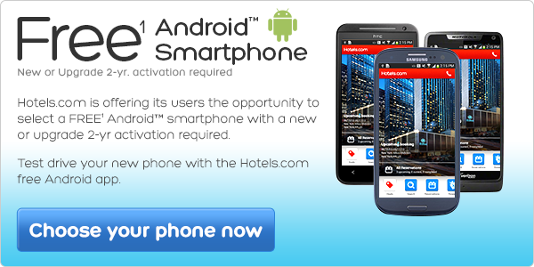 Free 1 Android Smartphone - Hotels.com is offering it's users the opportunity to select a FREE Android smartphone