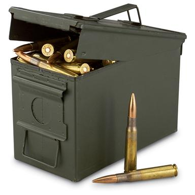 100 rds. .50 cal. BMG 660 Grain FMJ M33 Ammo with can