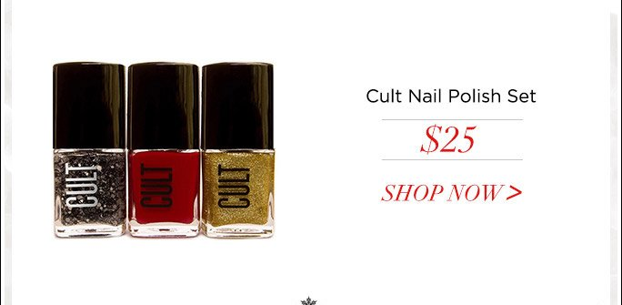 Cult Cosmetics 3-Piece Nail Polish Set. 5-Free. Cruelty-Free. Made In USA