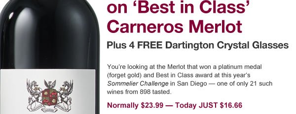 Day 7: Save $88 on Best in Class Carneros Merlot.