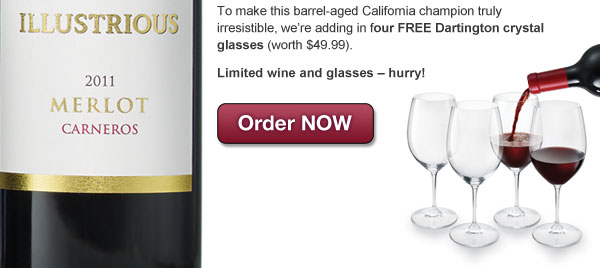 Plus get 4 FREE crystal wine glasses. Offer expires midnight tonight, order NOW.