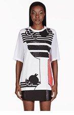 3.1 PHILLIP LIM White Embellished Sheer Panel T-shirt for women