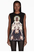 GIVENCHY Black Madonna Sleeveless T-Shirt for women