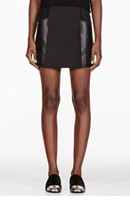 3.1 PHILLIP LIM Black Pleated Leather Panelled Mini Skirt for women