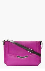 TIME'S ARROW Magenta Core Leather Trilogy shoulder bag for women