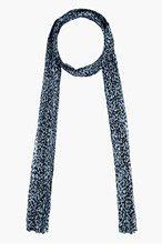 SAINT LAURENT Grey & Black Silk Muslin Babycat Printed Scarf for women