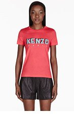 KENZO Coral Red Logo Graphic T-Shirt for women