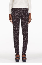 BAND OF OUTSIDERS Black Ami Printed Silk Trousers for women