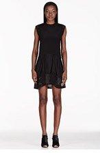 3.1 PHILLIP LIM Black Silk Laser-Cut Polka Dot Dress for women
