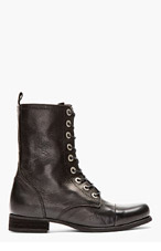 DIESEL Black leather Arthik Combat Boots for women
