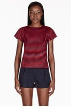 BAND OF OUTSIDERS Red & Navy Striped T-shirt for women