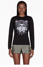 KENZO Black Embroidered Tiger Sweater for women