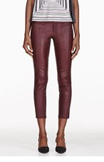 HELMUT LANG Oxblood Cropped Stretch Leather Plonge Leggings for women