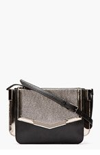 TIME'S ARROW Black Metallic Mini Triology Leather Shoulder Bag for women