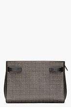 SAINT LAURENT Black Studded Leather Sac Du Jour Clutch for women