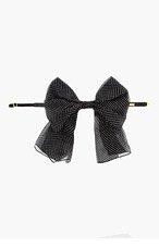 SAINT LAURENT Black Polka Dot Silk Bow Collar for women