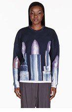 MSGM Navy Lipstick Toilet Paper Edition Sweater for women