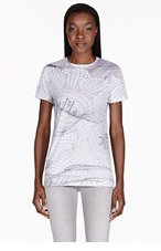 CHRISTOPHER KANE White Abstract Grid T-Shirt for women