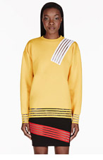 CHRISTOPHER KANE Yellow Stripe Cut-Out Sweater for women