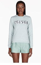 KENZO Heather Blue Embroidered Logo Sweater for women