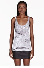 CHRISTOPHER KANE White Abstract Grid Tank Top for women