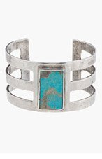 PAMELA LOVE Antique Silver Turquoise Inlay Cage Cuff for women