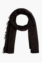 RICK OWENS Black Knit Blanket Scarf for women