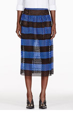 MARC JACOBS Black & Blue Striped Eyelet Overlay Skirt for women