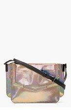 TIME'S ARROW Silver Mini Triology Laser Leather Shoulder Bag for women