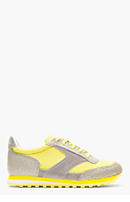MARC BY MARC JACOBS Yellow & Grey Neoprene Cute Kicks Running Shoes for women