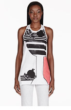 3.1 PHILLIP LIM White Embellished Racerback Tank Top for women