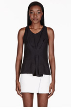 3.1 PHILLIP LIM Black Gathered Front Tank Top for women