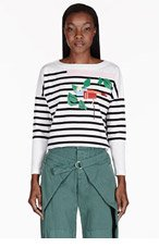 BAND OF OUTSIDERS White Striped Graphic Print T-shirt for women
