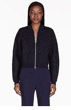 STELLA MCCARTNEY Navy snakeskin bomber jacket for women