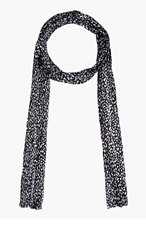 SAINT LAURENT Black & White Silk Muslin Babycat Printed Scarf for women